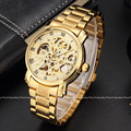 New Busines Luxury Golden Skeleton Dial Hand Winding Automatic Mechanical Wrist Men's Watch Stainless Steel Band  M104