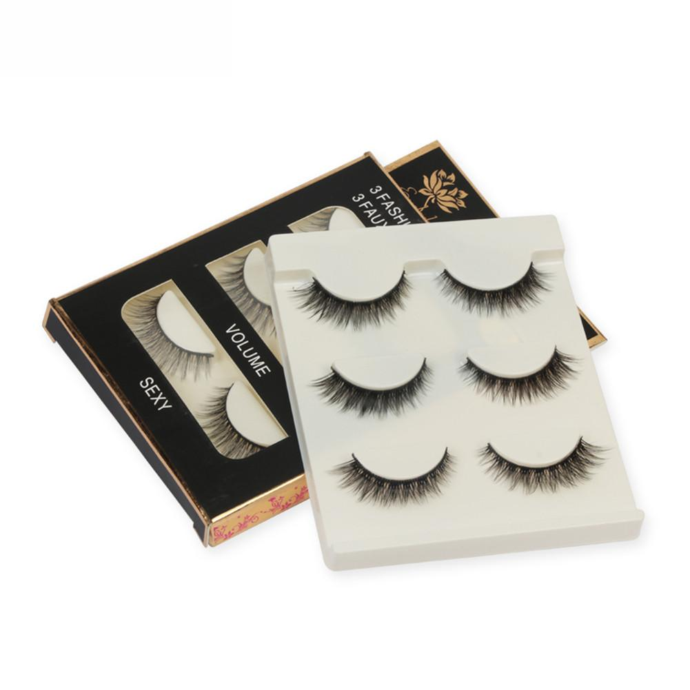 3 Pairs Per Set 100% Handmade 3D mink hair Beauty Thick Long False Mink Eyelashes Fake Eye Lashes Eyelash High Quality