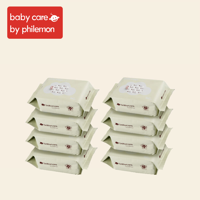 Babycare Wet Wipes Baby Hand And Mouth Wipes Without Chemical Bleach Fluroescnet Malonate Formaldehyde Thicken Cotton 8Bags/Set