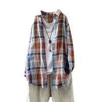 ARANSUE Autumn style women's retro literary and artistic linen shirt with large size Loose Plaid medium length shirt jacket