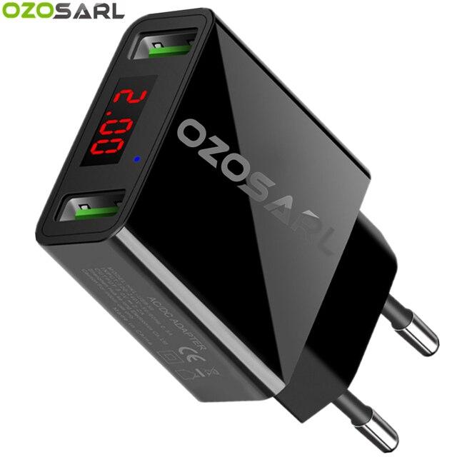 """2 יציאת USB מטען LED תצוגת האיחוד האירופי/ארה""""ב תקע את מקס 2.2A חכם מהיר טעינה נייד מטען קיר עבור iPhone iPad סמסונג Xiaomi"""
