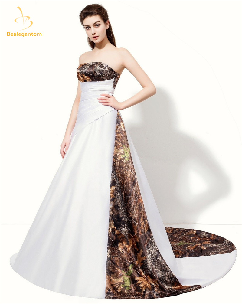 2018 New Camo Wedding Dresses With Appliques Ball Gown Long Camouflage Wedding Party Dress Bridal Gowns Robe De Mariage QA1315 gown