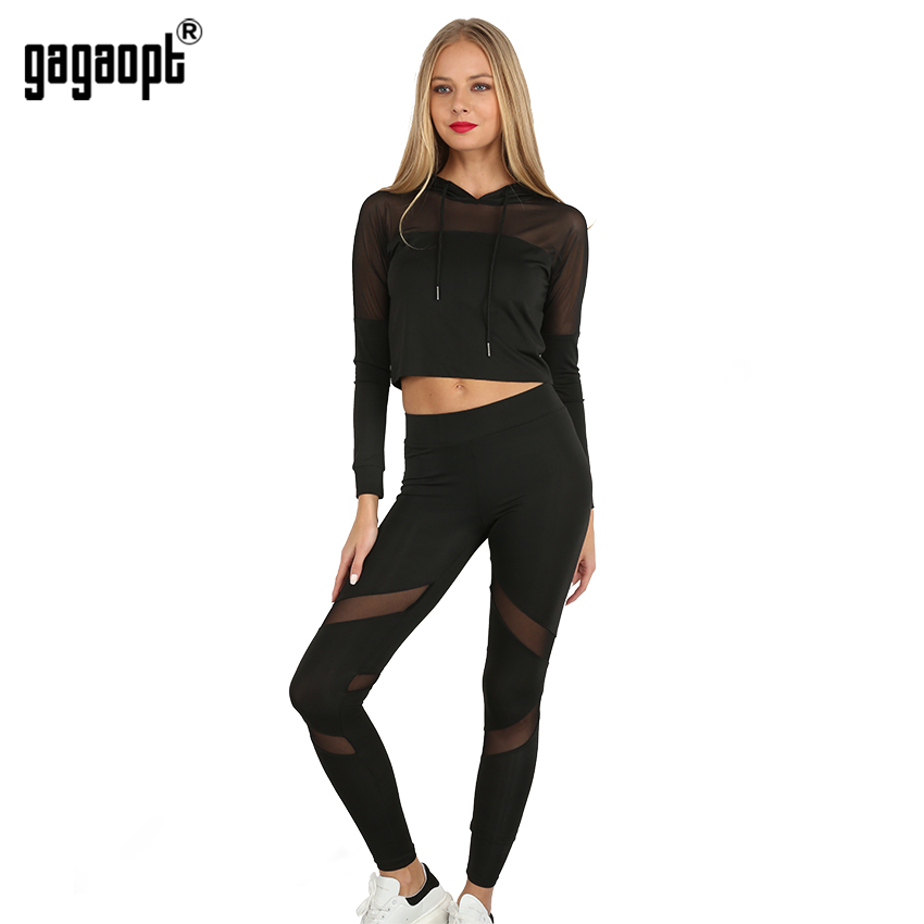 Gagaopt 2017 women tracksuit net yarn patchwork longsleeve sexy fitness women 39 s suits 2 piece - Top sexy femme ...