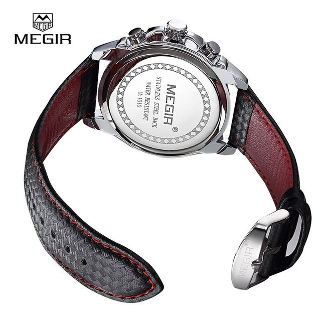 Top Brand Megir Watches men Sports Quartz Watch Casual Leather Men's Analog Display waterproof wristwatch  Military clock man