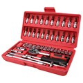 "Hot! 46pc Spanner Socket Set 1/4"" Car Repair Tool Ratchet Wrench Set Cr-v hand tools Combination Bit Set Tool Kit"
