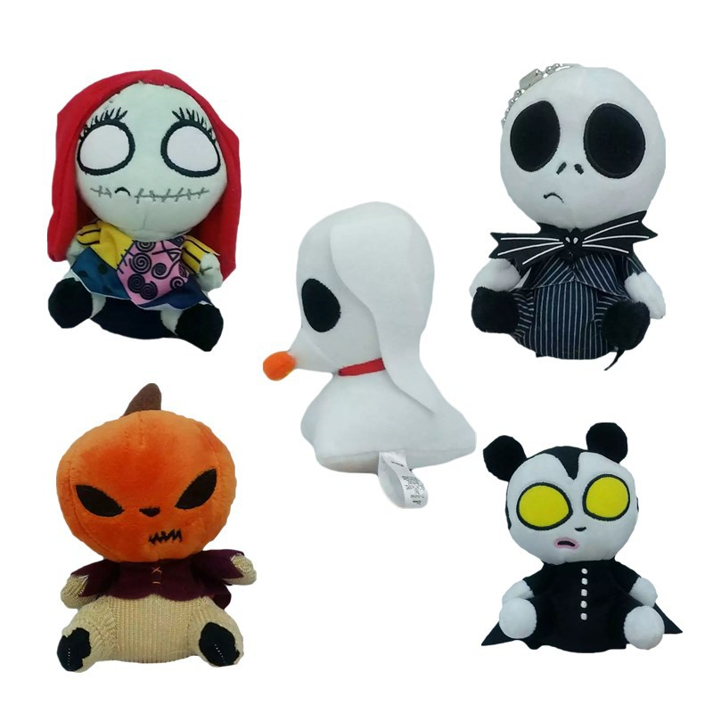 15cm The Nightmare Before Christmas Jack Skellington Plush Toys Jack Sally Lock Plush Pendant Keychain Stuffed Toys Doll Gifts womens printed halloween leggings the nightmare before christmas cosplay leggin jack and sally slim design workout girls pants
