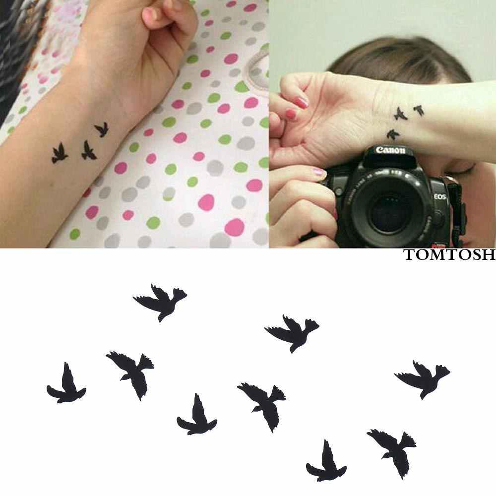 TOMTOSH New Hot Women Sexy Finger Wrist Flash Fake Tattoo Stickers Liberty Small Birds Fly Design Waterproof Temporary Sticker