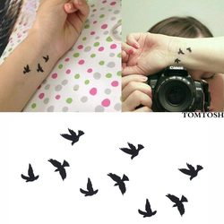 320a991f6 TOMTOSH New Hot Women Sexy Finger Wrist Flash Fake Tattoo Stickers Liberty  Small Birds Fly Design