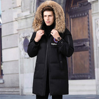 Зимнее пальто для мужчин, съемная Пушистая Шапка, куртки для мужчин, куртка на гусином пуху, Ropa de Hombre, Толстая Теплая мужская куртка