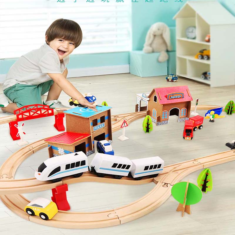 2019 New Wooden Railway Straight And Curved Expansion Track Take-n-Play Motorized Electric Train Wooden Trains Track Set Brio