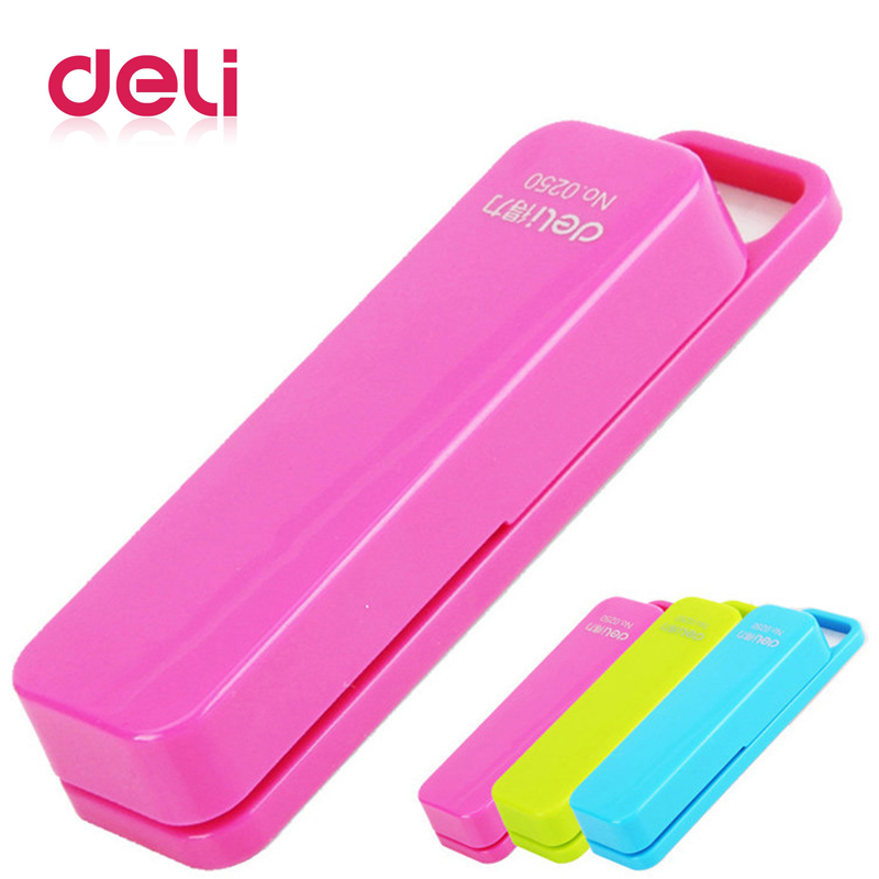 Deli Mini Stapler 80*20*15mm Four Colors Cartoon With A Box Stapler Pin Office Supplies Stationery High Quality New Stapler