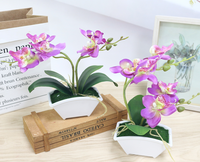 small artificial butterfly orchid flower set with real touch leaves artificial plants overall floral for wedding (24)