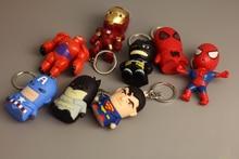 Marvel Avengers Action Figure Keychain Toys Iron man Ironman Key chain Led Holder Keyring Batman Superman Keyrings Super man Toy