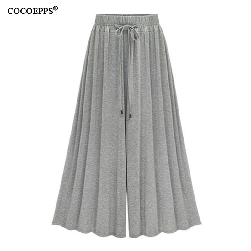 Summer Elegant Elastic Women High Waist Ruffled Chiffon   Wide  -  Leg     Pants   Big Size Loose Flared   Pants   Trousers Skirt Casual Bottom