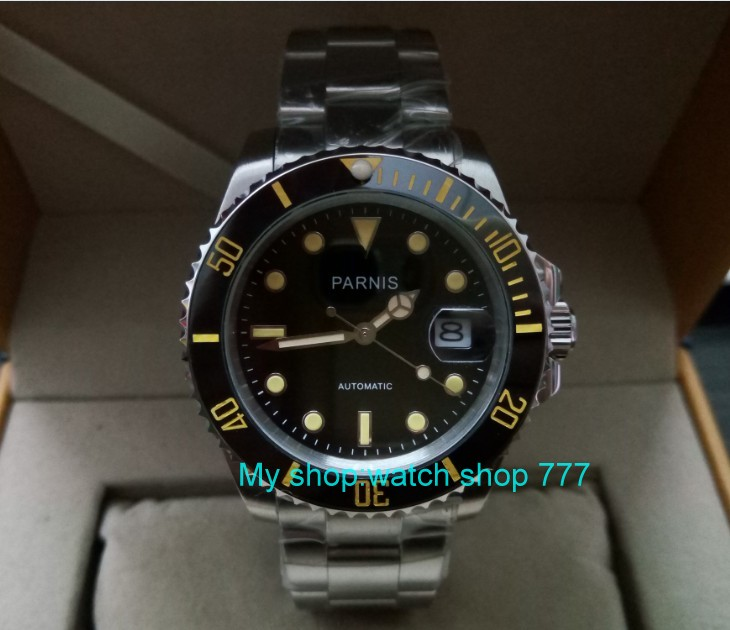 40mm PARNIS Sapphire Crystal Japanese Automatic machinery movement mens watch black rotateing Ceramic bezel zdgd07A40mm PARNIS Sapphire Crystal Japanese Automatic machinery movement mens watch black rotateing Ceramic bezel zdgd07A