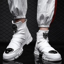 Nueva moda Hip hop baile de cuero suave de los hombres zapatos de moda de  alta de los hombres altos botas Martin botas transpira. 92ff82093ec