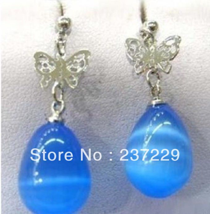 Wholesale price FREE SHIPPING  Blue Opal Drip Silver Butterfly Earrings