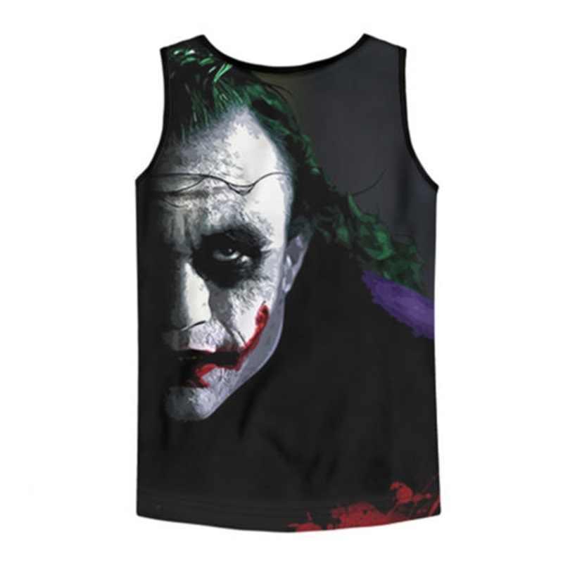 Прохладный в стиле «Джокер» майка на бретельках летняя футболка 3D принт нательная футболка для фитнеса Повседневное мужские Аниме платье-майка для маленьких мальчиков бодибилдинг