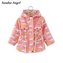 5e713d11fcb Sundae Angel Girl Spring Jackets Coat Long Sleeve Hooded Kids Print Cartoon  Outerwear Clouds Pattern for