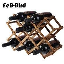Wooden Red Wine Rack 10 Bottle Holder Mount Bar Display Shelf Folding Wood Alcohol Neer Care Drink Holders