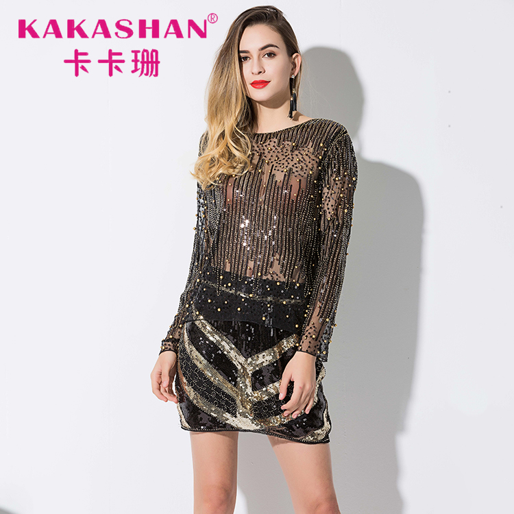 bc3e06a50c3 2018 Runway Sexy Sequined Bead Sheer Mesh Lace Long Sleeve Shirt Vintage  Embroidery Embellished Blouse Top