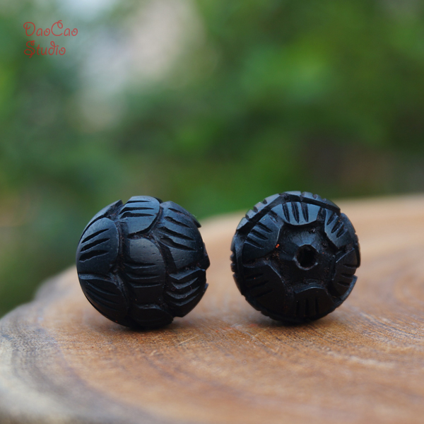 US $9 0 |8 10 12 15 18mm Natural Black Sandalwood Ebony Carved Lotus Round  Wooden Mala Beads Bracelet Jewellry Findings DIY Accessories-in Jewelry