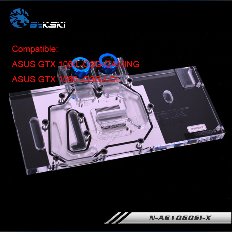 N-AS1060SI-X original Bykski gpu cooler for ASUS GTX 1060 O3G GAMING/ASUS GTX 1060 -O3G-LOL gpu water cooling block cooler kit new 41 x 122 x 12mm water cooling heatsink block waterblock liquid cooler for cpu gpu wholesale