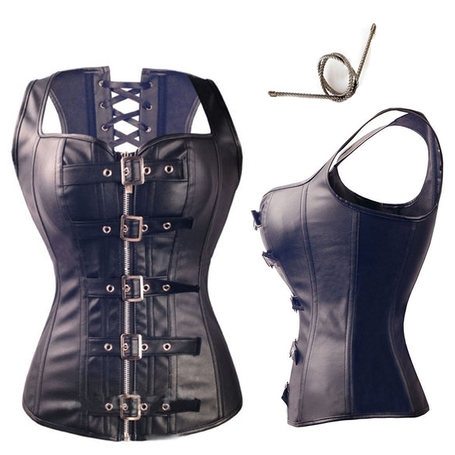 X Sexy Black Steampunk Faux leather/PVC Lace Up BONED Gothic Corsets And Bustiers Sexy Lingerie Slimming Shaper Top Size S-2/6XL