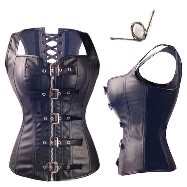 X Sexy Steampunk Negro de cuero de Imitación/PVC Lace Up BONED Corsés Góticos Y Bustiers Lencería Sexy Para Adelgazar Shaper Superior tamaño S-2/6XL
