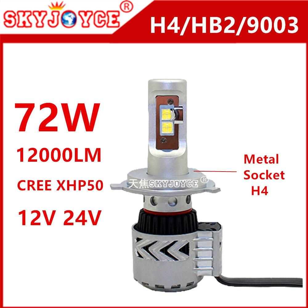 2X Car led Headlight H4 9003 HB2 led 72W 12000LM 6500K Xenon white led Conversion Kit car Styling led H4 H7 H11 H16 9005/6