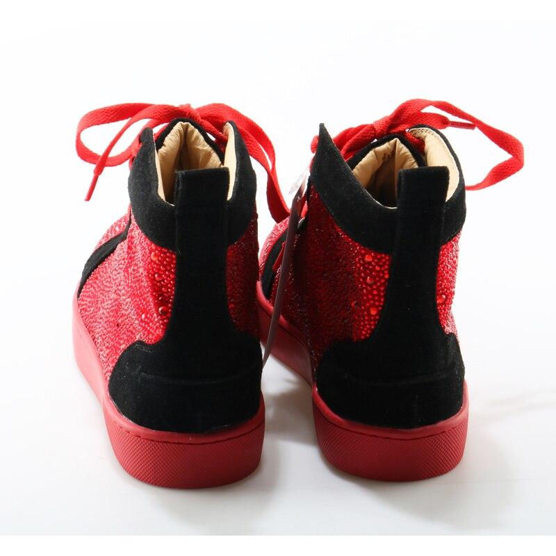 High Hombres Diseño Brillo Marca Rojo Flats Mens Moda Okhotcn Sneakers Bling Para Casual Zapatos Cuero Top qz5AZ