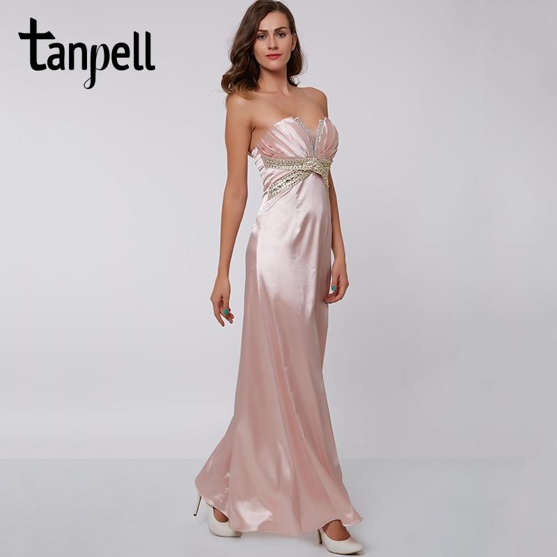 Tanpell Scalloped Neck Evening Dress Pink Sleeveless Floor Length Straight Dresses Beaded Pleats Women Long Formal Evening Gown