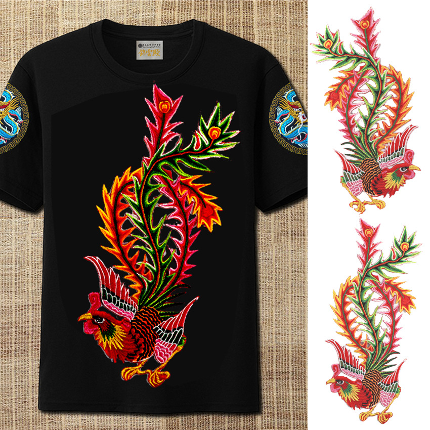 Embroidery Clothing Hanfu Accessories Phoenix Embroidery Lace Cock Paste Cheongsam Patch Hot Melt A Pair