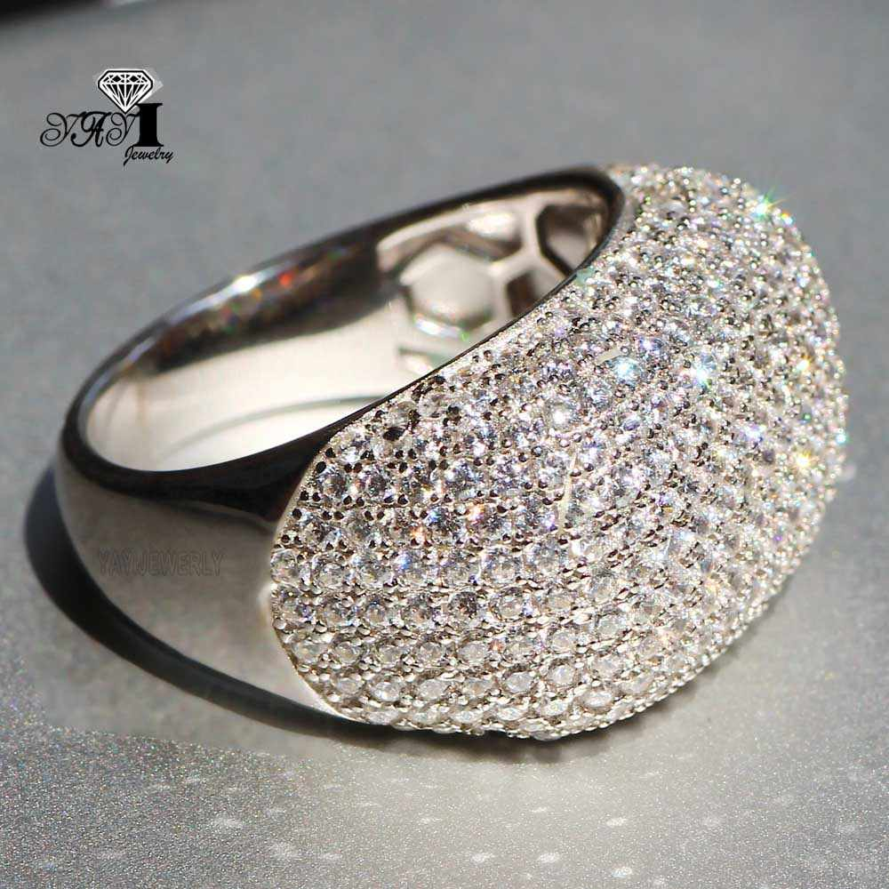 YaYIเครื่องประดับปริ๊นเซตัด4.9 CTสีขาวเพทายสีเงินแหวนหมั้นหัวใจแหวนแต่งงานสาวพรรคของขวัญแหวน