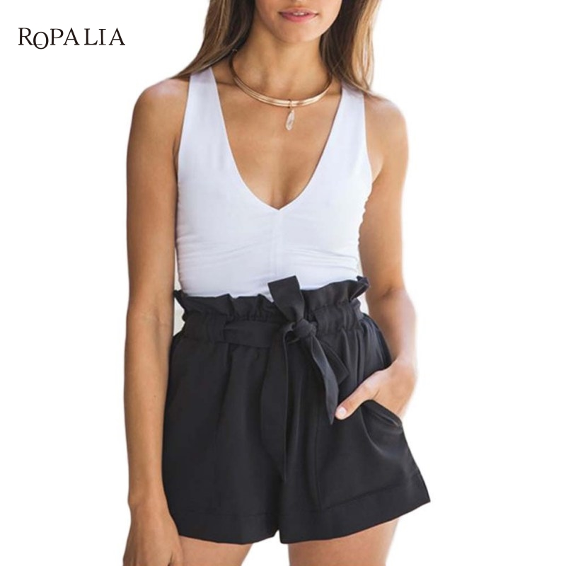 Plus Size Shorts Feminino Women High Waist Shorts Bow Belt Casual Short  Loose Ruffle Shorts For Women