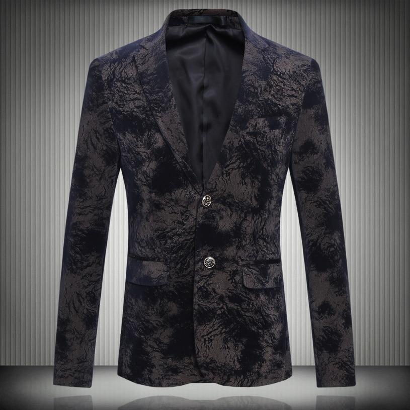 Men's Jacket 2017 Spring New Corduroy Men's Blazer Fashion Printed Casual Suit Floral Velvet Suits Slim Fit Blazer Men 6XL