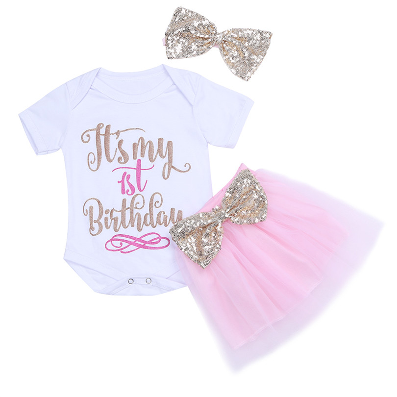 0f44cc08e0f 3PCS Newborn Infant Baby Girls My 1st Birthday Outfits Romper with Tutu  Skirt and Headband Chirstmas Bow Holiday Outfit Suit-in Clothing Sets from  Mother ...