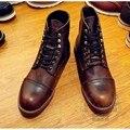 Botas de Trabalho dos homens Oi Rua Tornozelo Couro Chukka Botas Botas Curtas De Couro Genuíno Handmade Sólida Martin sapatos casuais Homens desgaste