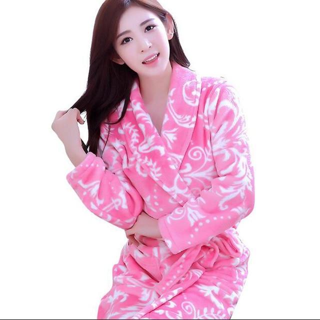Winter Coral Fleece Bathrobe Women Robes Sleepwear Dressing Gowns For Women Thick Warm Bathrobes Sleep & Lounge Wear Kimono Robe