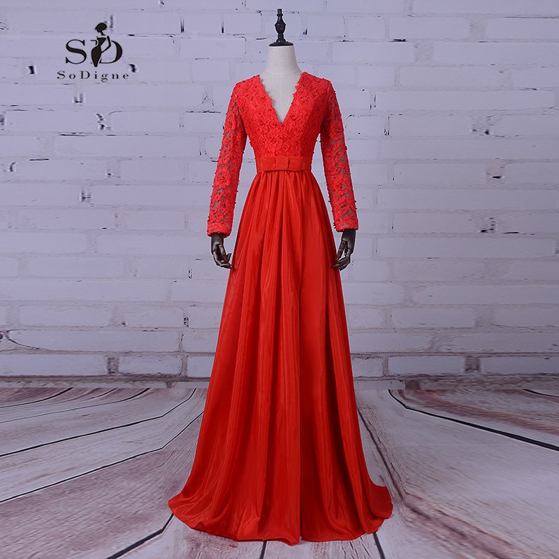 SoDigne Pearl Evening Dress Luxury Evening Gowns Red Long Sleeve Formal Dresses Lace Buttons Long Chiffon Dress High Quality