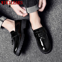 Tassels Patent Leather Men's Business Dress Shoes Men Oxfords Slip On Loafers Men Party Wedding Derby Shoes Casual Platform Shoe