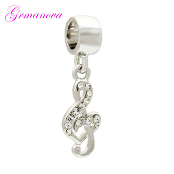 White crystal music symbol pendant European charm beads handmade DIY jewelry accessories amulet Fit Pandora Bracelet Necklace image