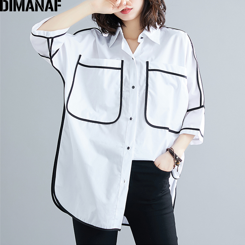 DIMANAF Plus Size Women   Blouse     Shirts   Summer Office Lady Tops Tunic Big Size Cotton Loose Casual Spliced Female Clothes 2019 NEW