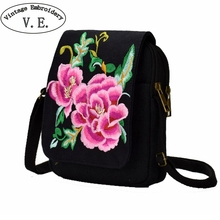 Vintage Embroidery Women Shoulder Bag Floral Canvas Mobile Phone Small Coins Purse Messenger Bags Bolsa