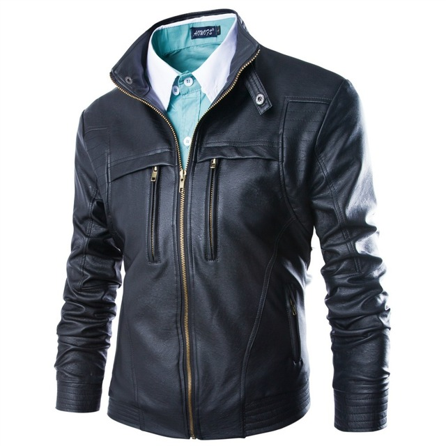 New high end mens zipper jacket coat mandarin collar popular leather jacket men warm pu skin solid coat jackets m-4xl large size