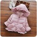 Ребенка зимой вниз ватные куртки утолщение ребенка женского пола ватные куртки качество верхней одежды 0-1-2-3 девочек одежда С Капюшоном куртка