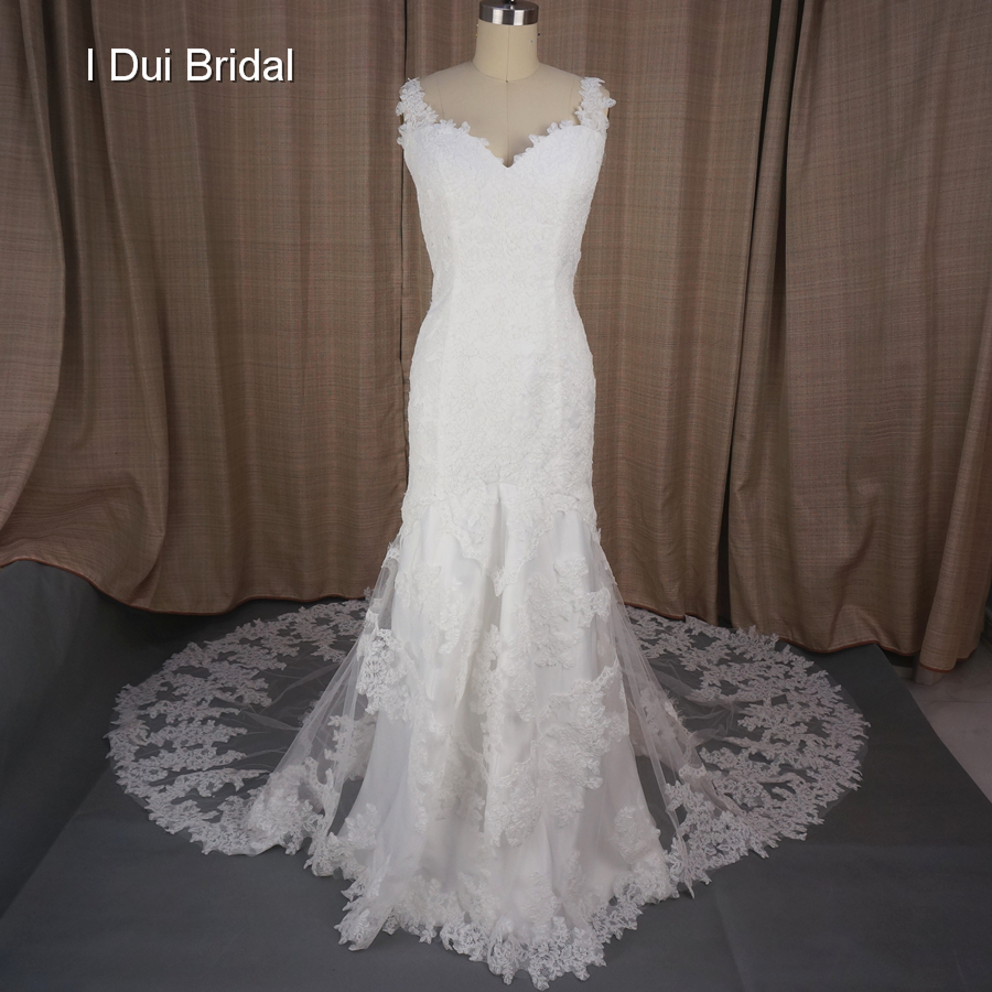 Mermaid V Neck Chapel Train Unique Lace Design Low Back Fasion Wedding Dresses Factory Real Photo