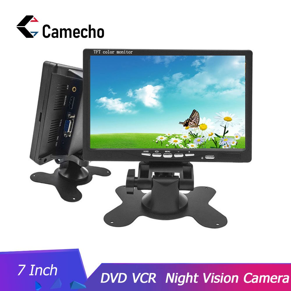 Camecho HD 7 Inch LCD Color Display Screen Car Rear View DVD VCR Monitor With LED