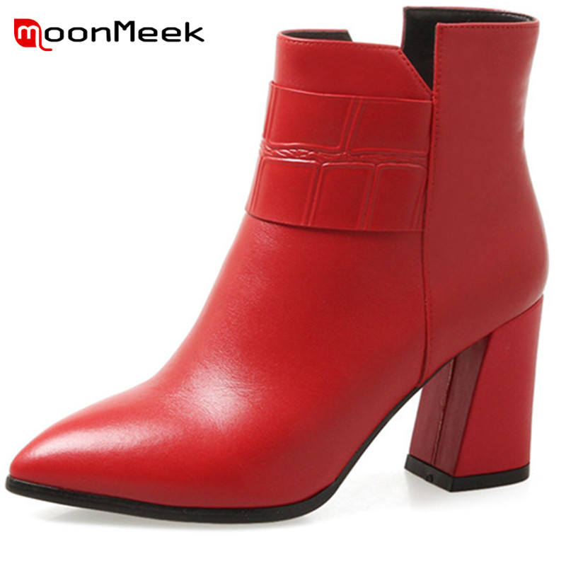 MoonMeek fashion autumn winter women boots hot sale ladies genuine leather boots classic high heels ankle boots big size shoesMoonMeek fashion autumn winter women boots hot sale ladies genuine leather boots classic high heels ankle boots big size shoes