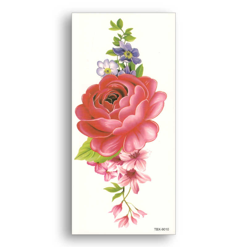 waterproof Fake temporary tattoo Rose Arm breast Water transfer color flower Stickers Girl Women Sexy Beauty Body Art TBX9010